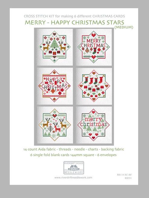 CROSS STITCH KIT (6 MEDIUM GREETINGS CARDS) Merry Happy Christmas