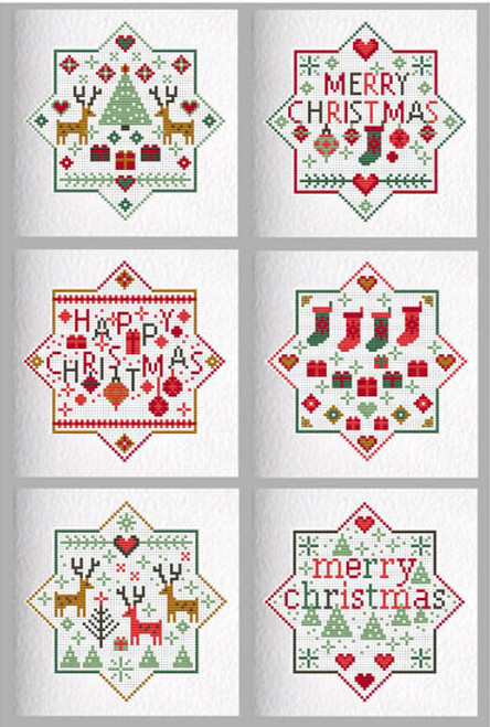 CROSS STITCH KIT (6 MEDIUM GREETINGS CARDS) Merry Happy Christmas
