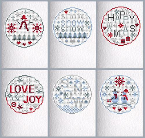 CROSS STITCH KIT (6 CARDS) Snow Christmas