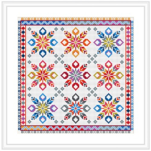 CROSS STITCH KIT 14ct AIDA Tulip Star 9 Square