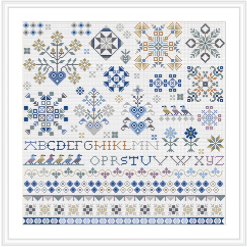 CROSS STITCH KIT 14ct AIDA Dutch Square Sampler
