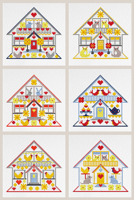 CROSS STITCH KIT (6 MEDIUM GREETINGS CARDS) Little Houses