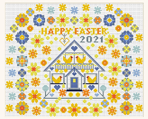 CROSS STITCH KIT 14ct Aida Happy Easter