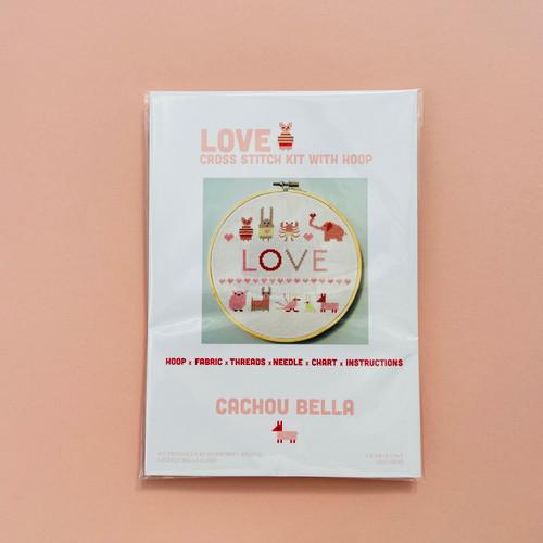 CROSS STITCH KIT 14ct AIDA with HOOP Love by Cachou Bella
