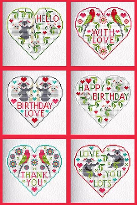 CROSS STITCH KIT (6 MEDIUM GREETINGS CARDS) Koalas & Parrots Hearts