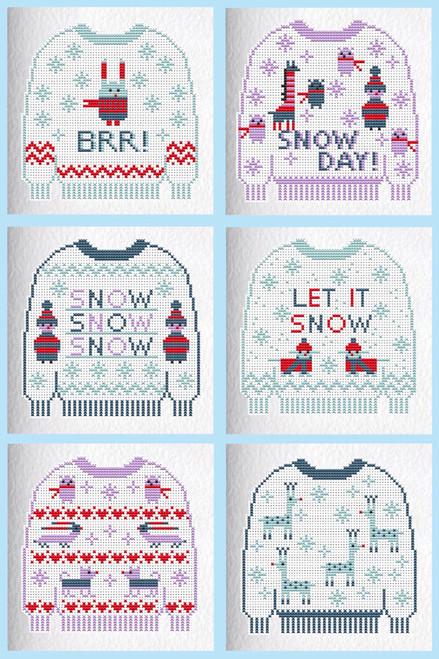 CROSS STITCH KIT (6 MEDIUM GREETINGS CARDS) Christmas Jumpers