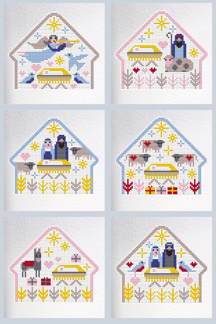 CROSS STITCH KIT (6 MEDIUM GREETINGS CARDS) Away in a Manger
