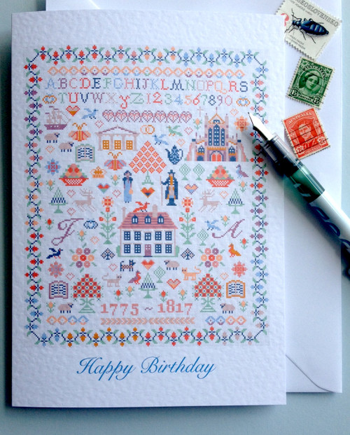 BIRTHDAY GREETINGS CARD Jane Austen Sampler