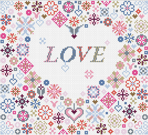 CROSS STITCH KIT 14ct AIDA Love Heart