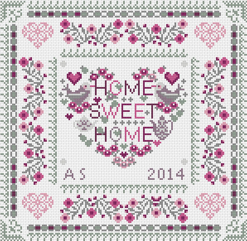 CROSS STITCH KIT 14ct AIDA Home Sweet Heart Home