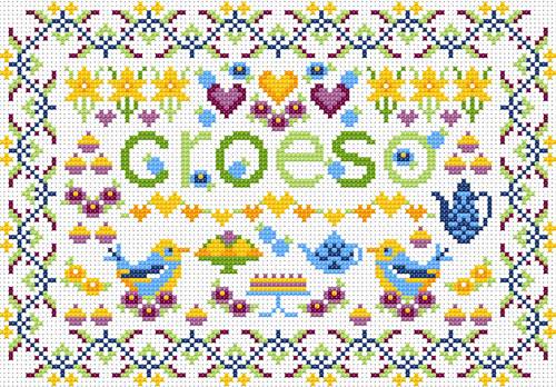 CROSS STITCH KIT 14ct AIDA Welsh, Little Welsh Croeso