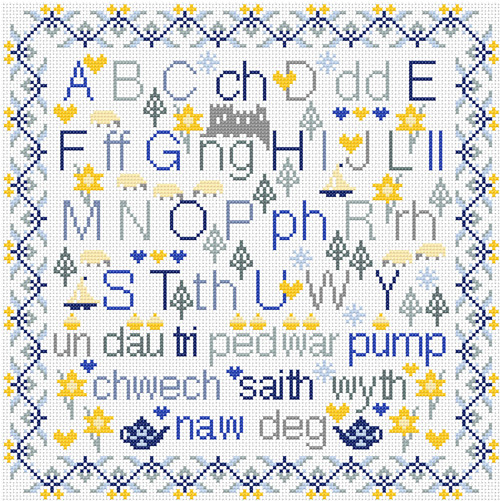CROSS STITCH KIT 14ct AIDA Welsh Alphabet Sampler