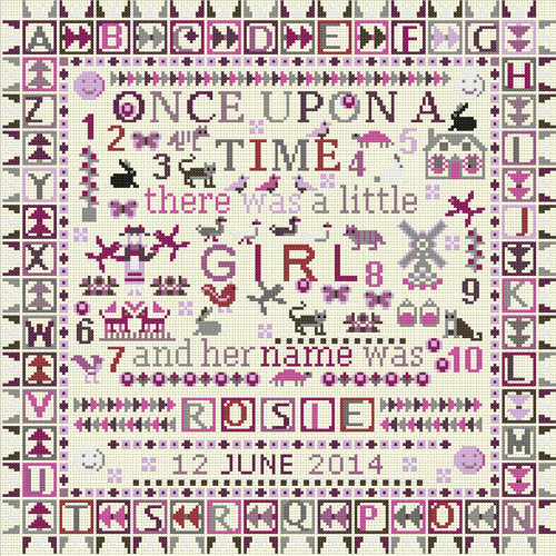 CROSS STITCH KIT 14ct AIDA Children's Once Upon a Time Girl Personalised