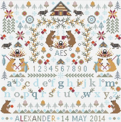 CROSS STITCH KIT 14ct AIDA Children's Little Bears Personalised