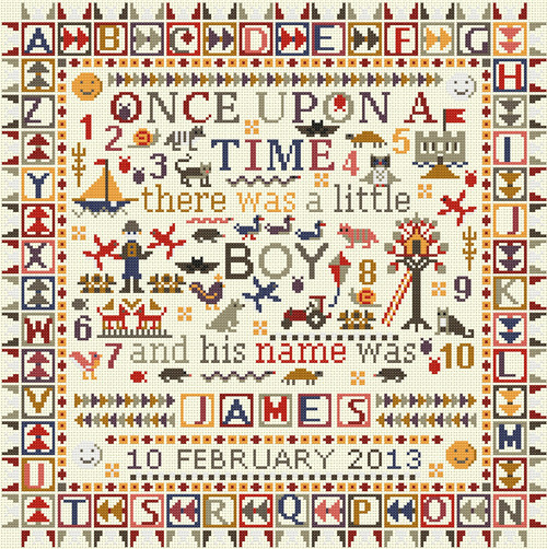CROSS STITCH KIT 14ct AIDA Children's Once Upon a Time Boy Personalised
