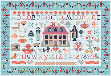MINI JANE AUSTEN SAMPLER COUNTED CROSS STITCH KIT by RIVERDRIFT HOUSE