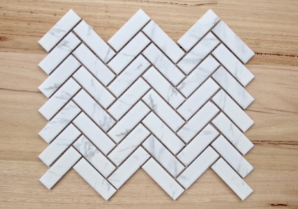 Cararra Porcelain Herringbone Mosaic Tile