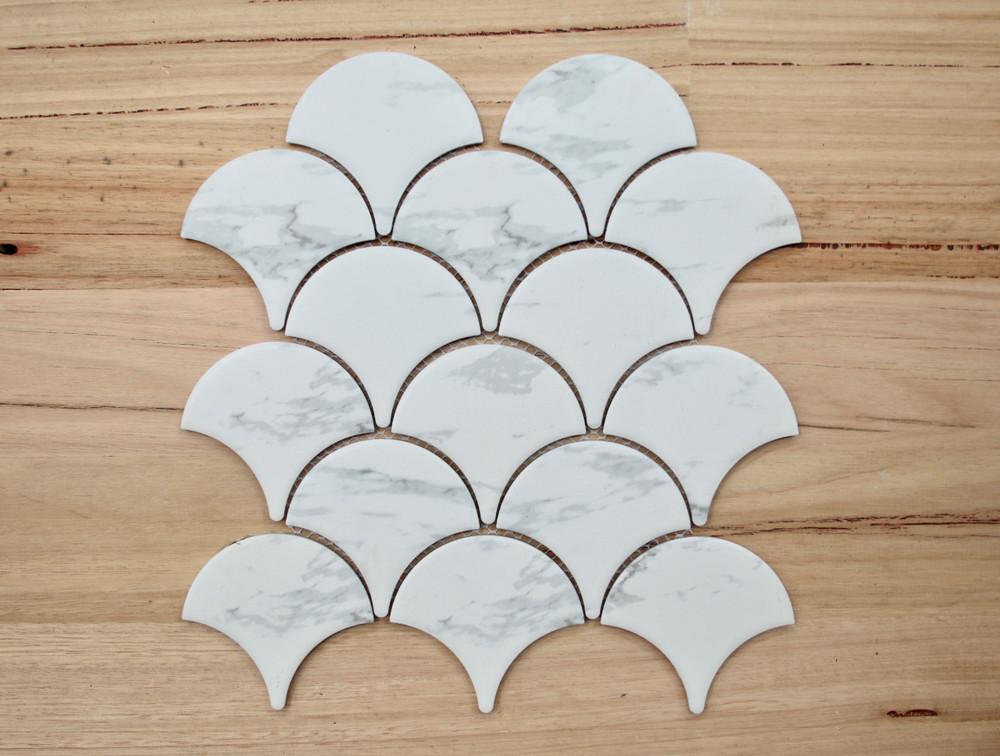 Cararra Porcelain Fishscale mosaic