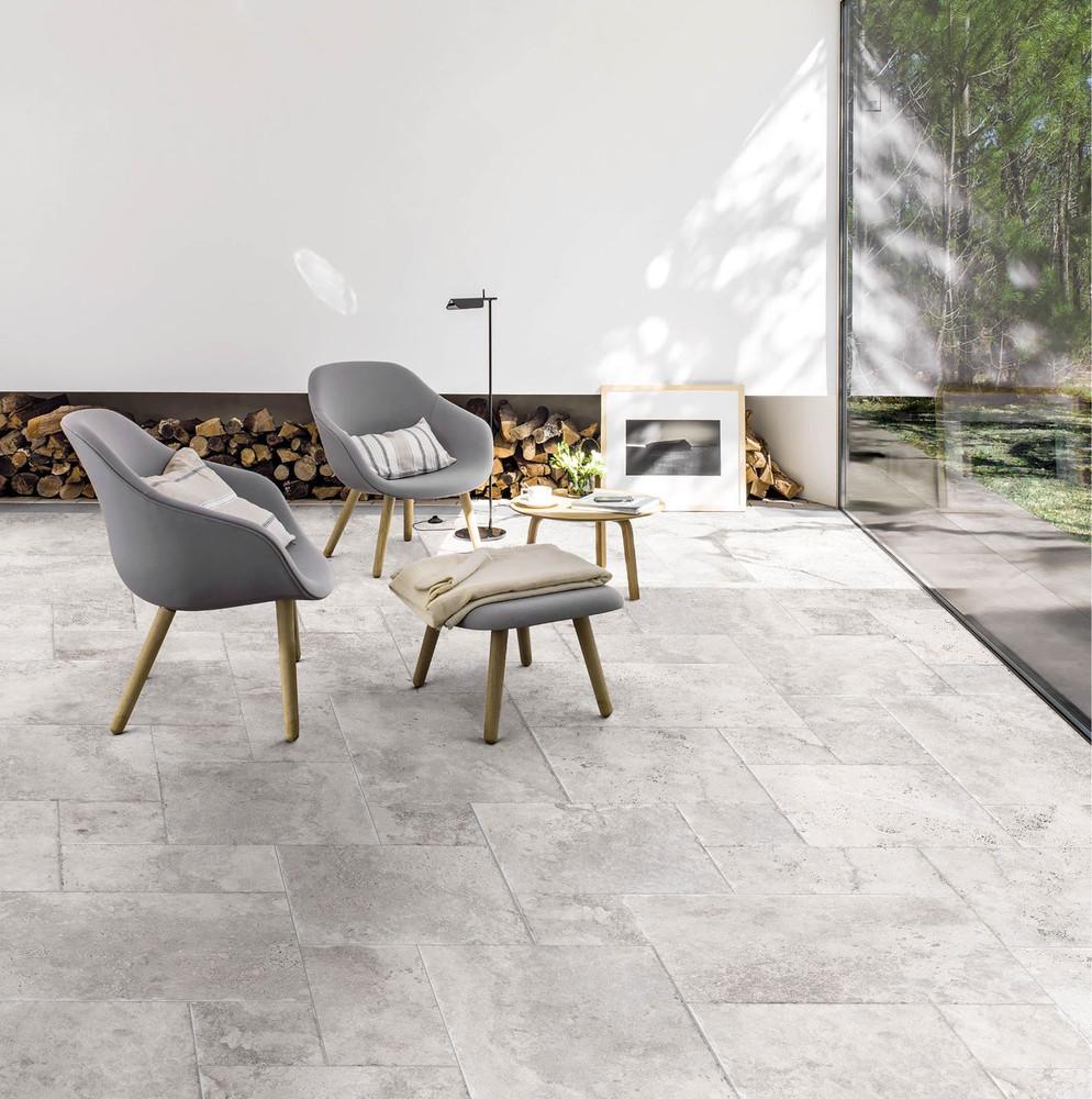 Bodrum Silver Travertine Porcelain Indoor Tile