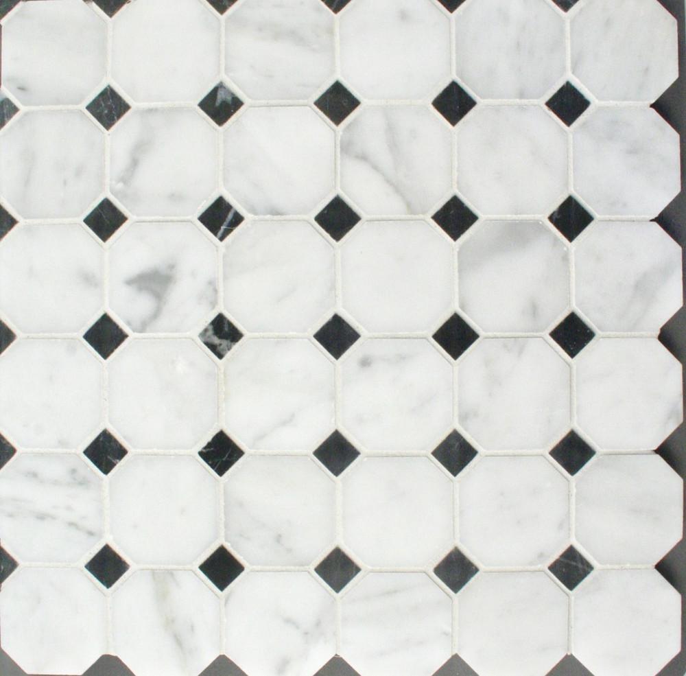 Carrara Octagon and Dot Mosaic