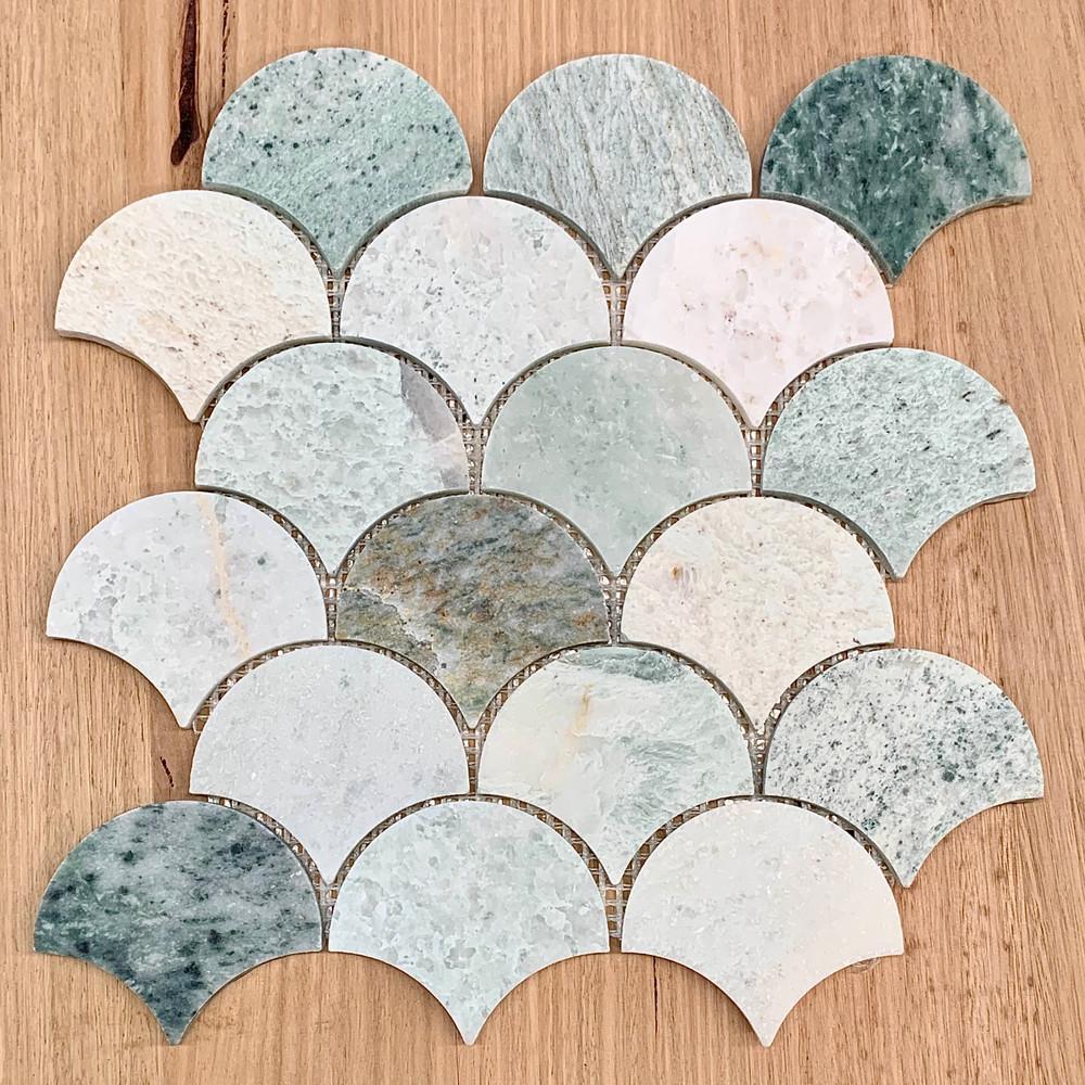 Ming Green Marble Fan Mosaic Tile