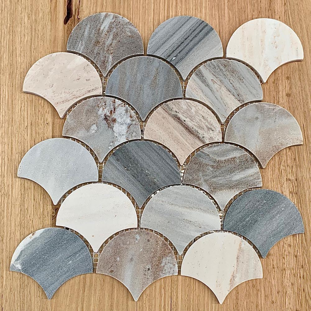 Blue Sandstone Fan Mosaic Tile