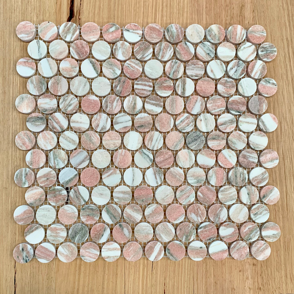 Pink Marble Penny Round 23mm