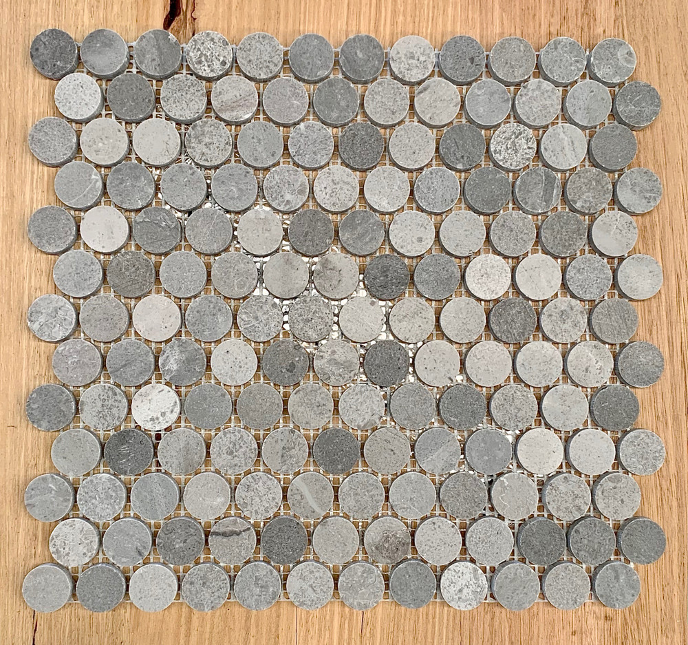 New Grey Marble Penny Round 23mm