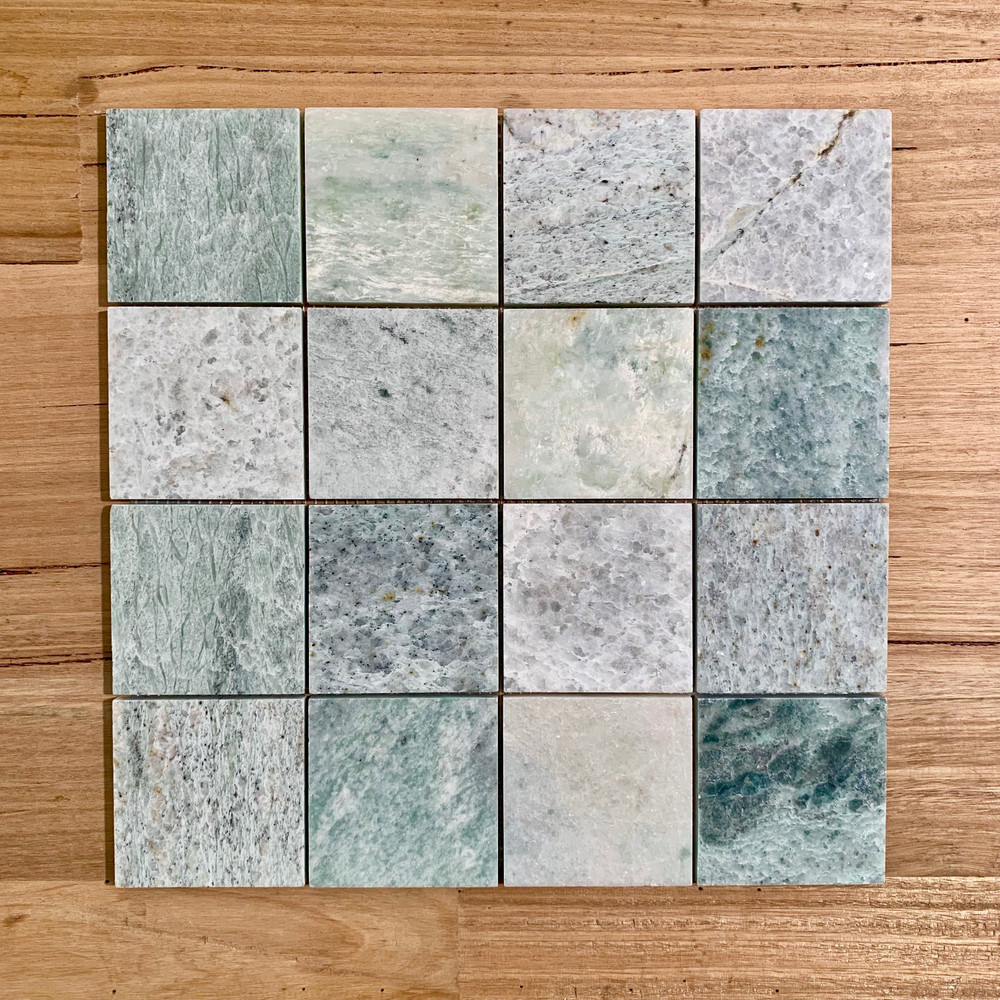 Ming Green Marble Square Mosaic 75x75mm