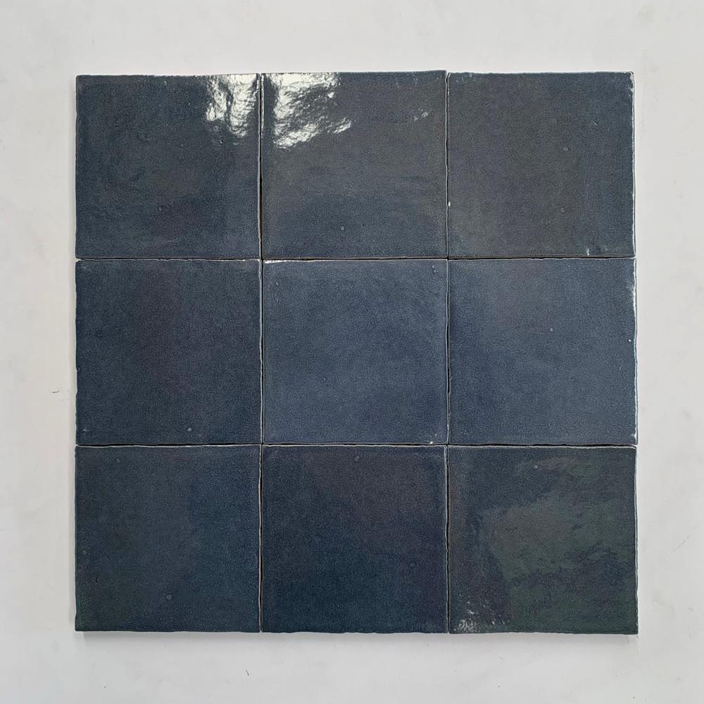 Sample of Zellige Dark Blue Gloss Wall Tile 10cm