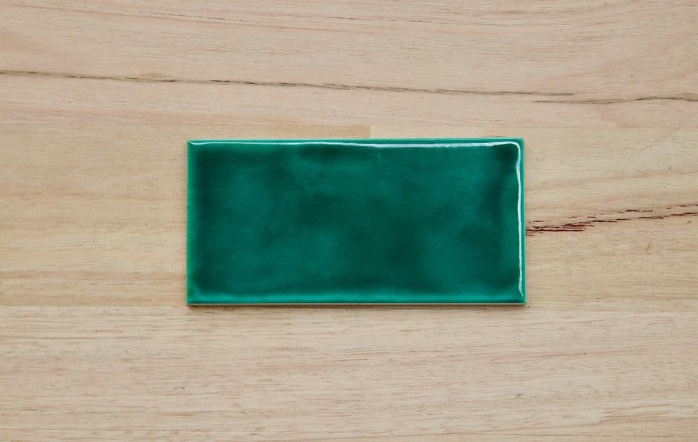 Dark Green Craquelle  Subway Tile