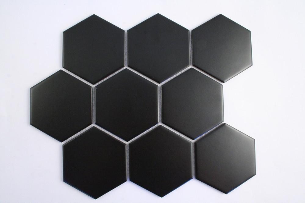 95mm Matt Black Porcelain Hexagon Mosaic Tile