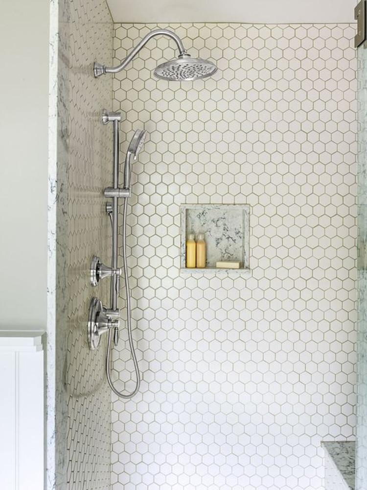 White  Hexagonal Mosaic Gloss  51mm
