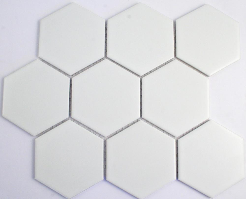 95mm matt white hexagon mosaic