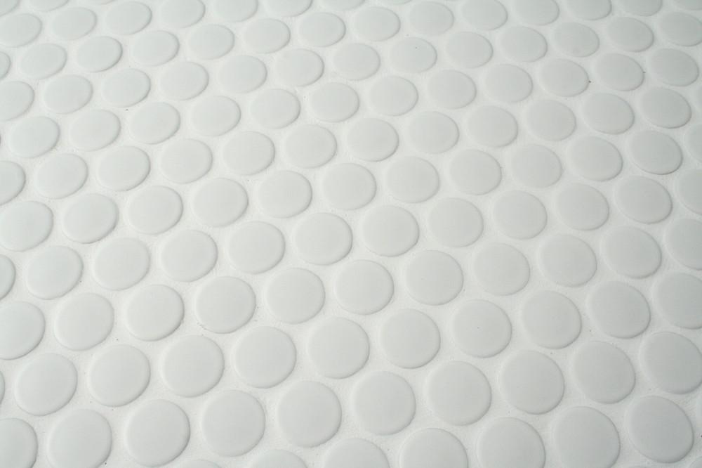 white penny round tiles