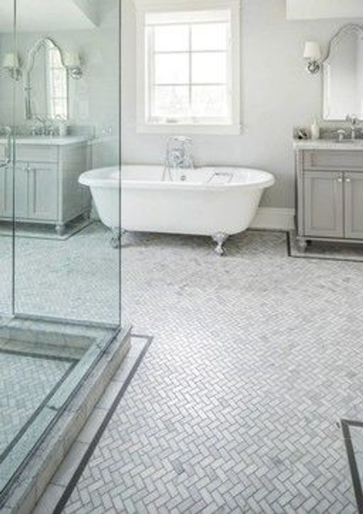 Carrara Herringbone Marble Mosaic 48x23mm -