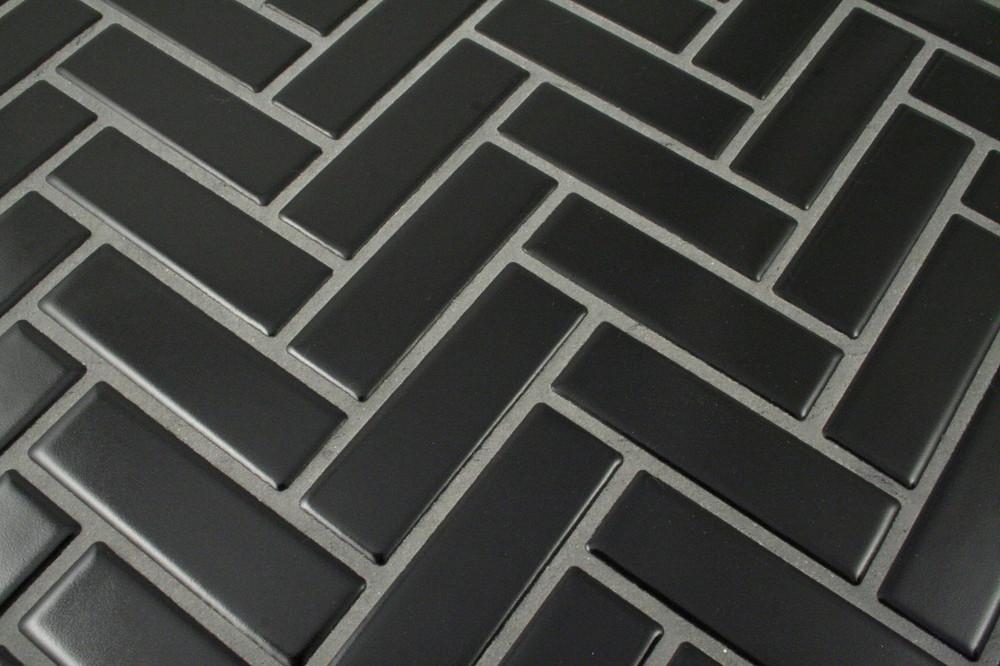 Black Herringbone Mosaic  72x22mm