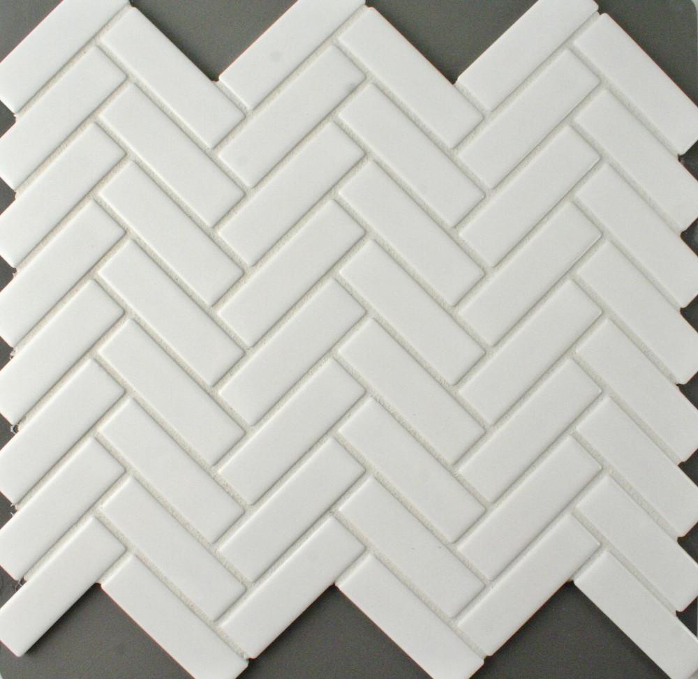 White Porcelain Herringbone Mosaic - Matt