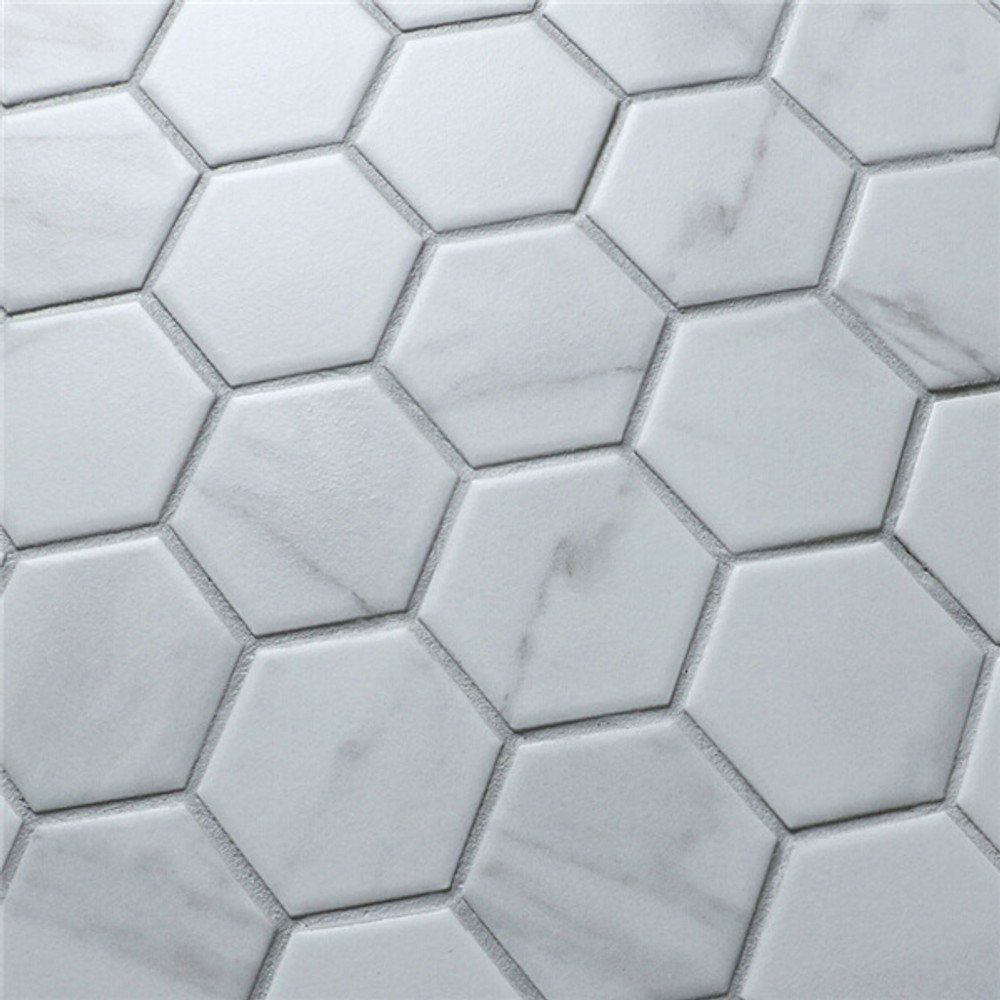 Carrara Porcelain Hexagonal Mosaic 51mm