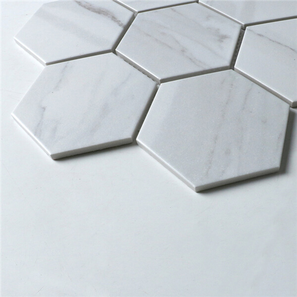 Carrara Look Porcelain Hexagonal Mosaic 95mm