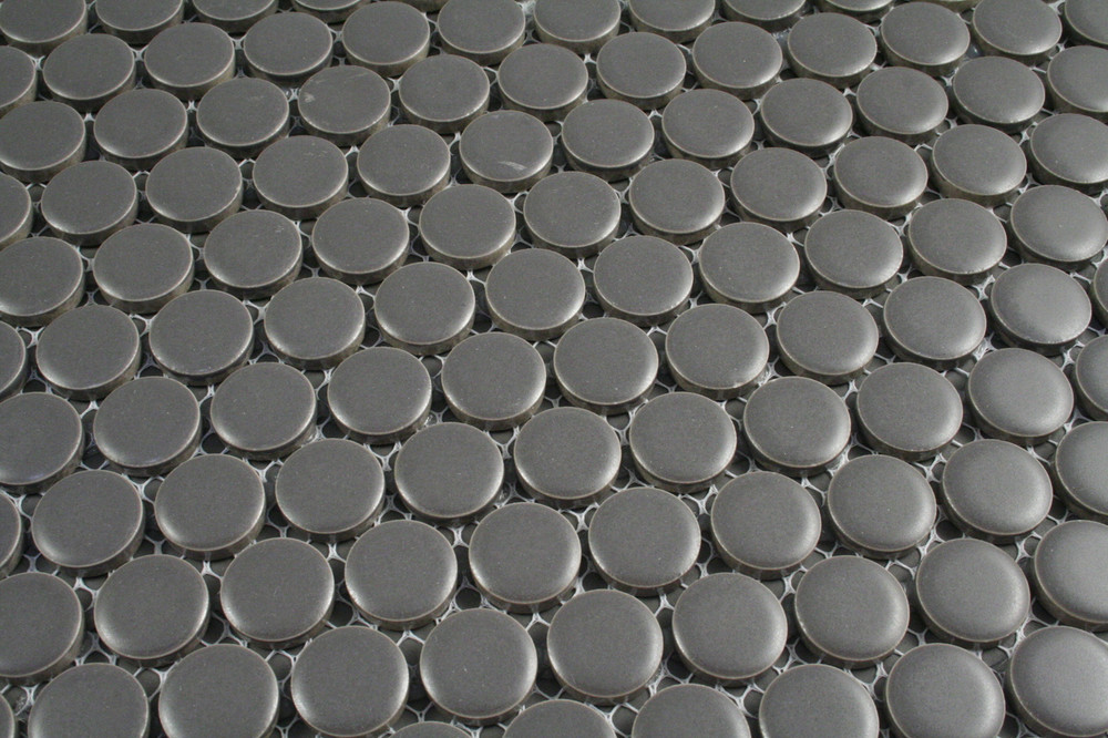 Grey Matt Penny Round Mosaic 19mm