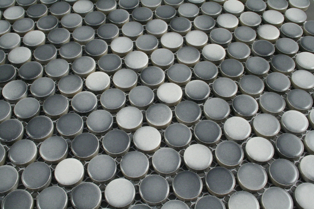 Mixed Grey Gloss Penny Round Tiles