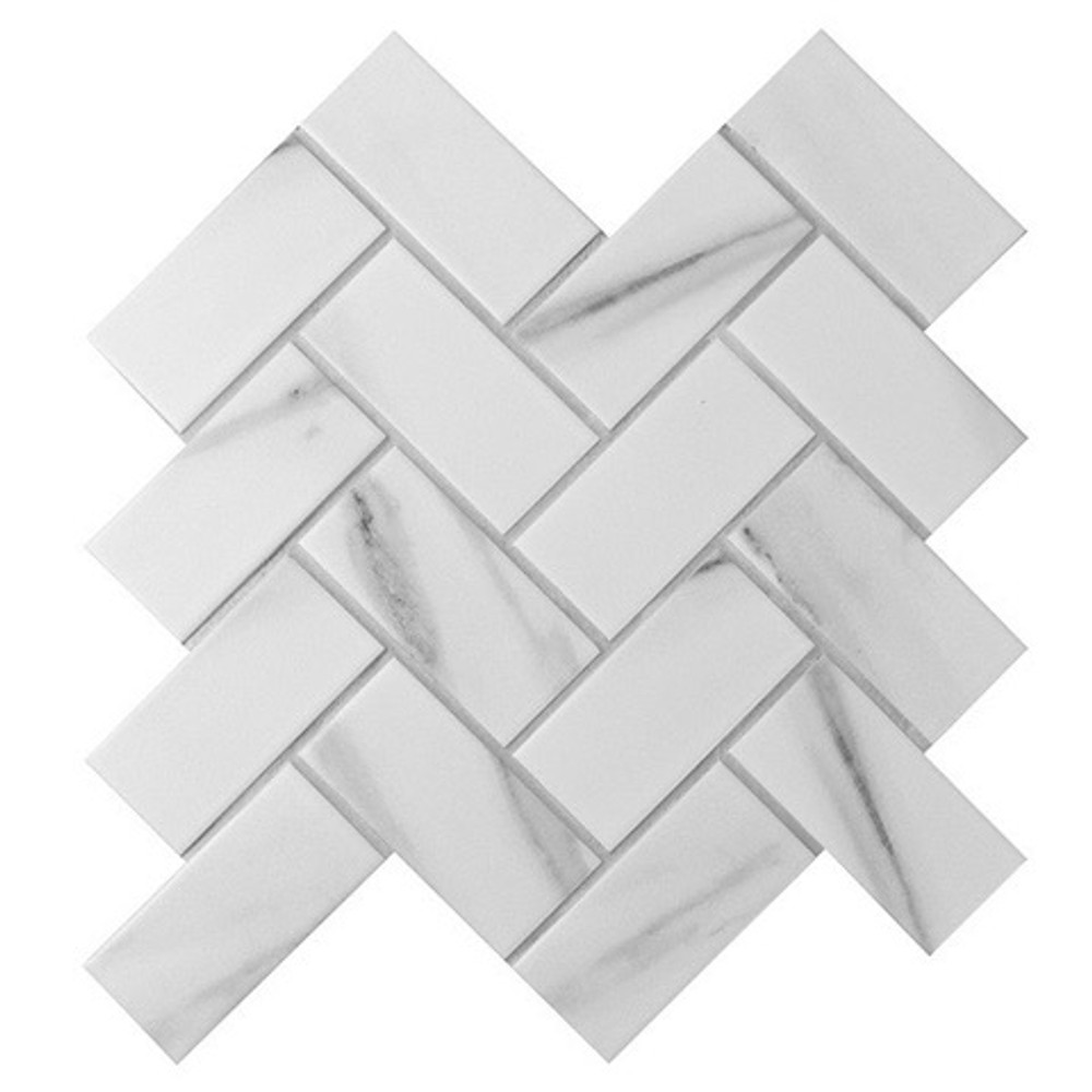 Carrara Porcelain Herringbone Mosaic 95x45mm