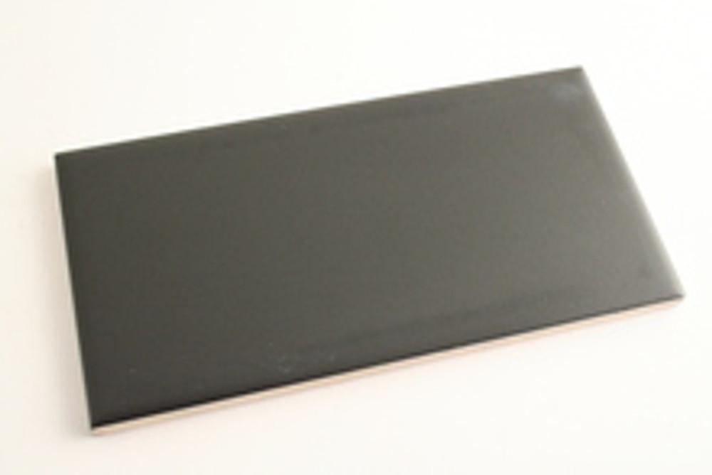 Sample of 150x75mm Matt Black Non-Rectified Subway Tile - SOLD PER BOX