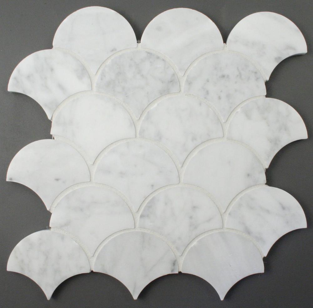 Carrara Marble Fan Shape Mosaic