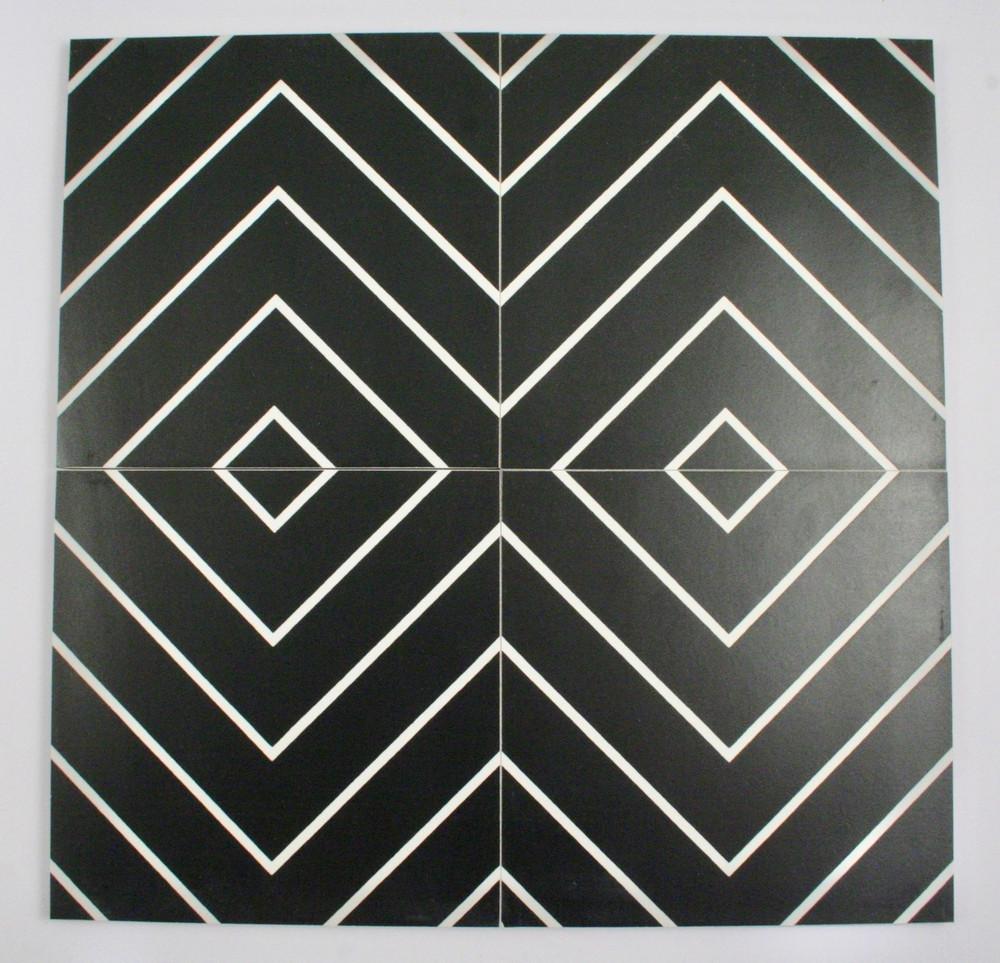 Sample of Chevron Black Keys Wall and Floor Tile 200mm