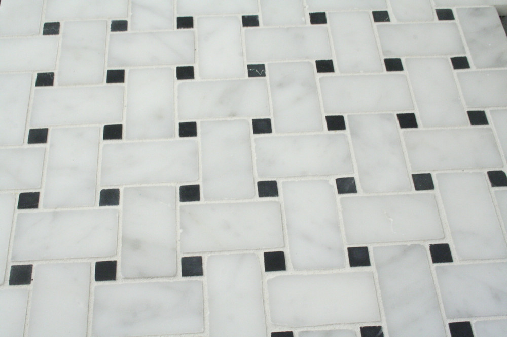 Basketweave Carrara Marble Mosaic