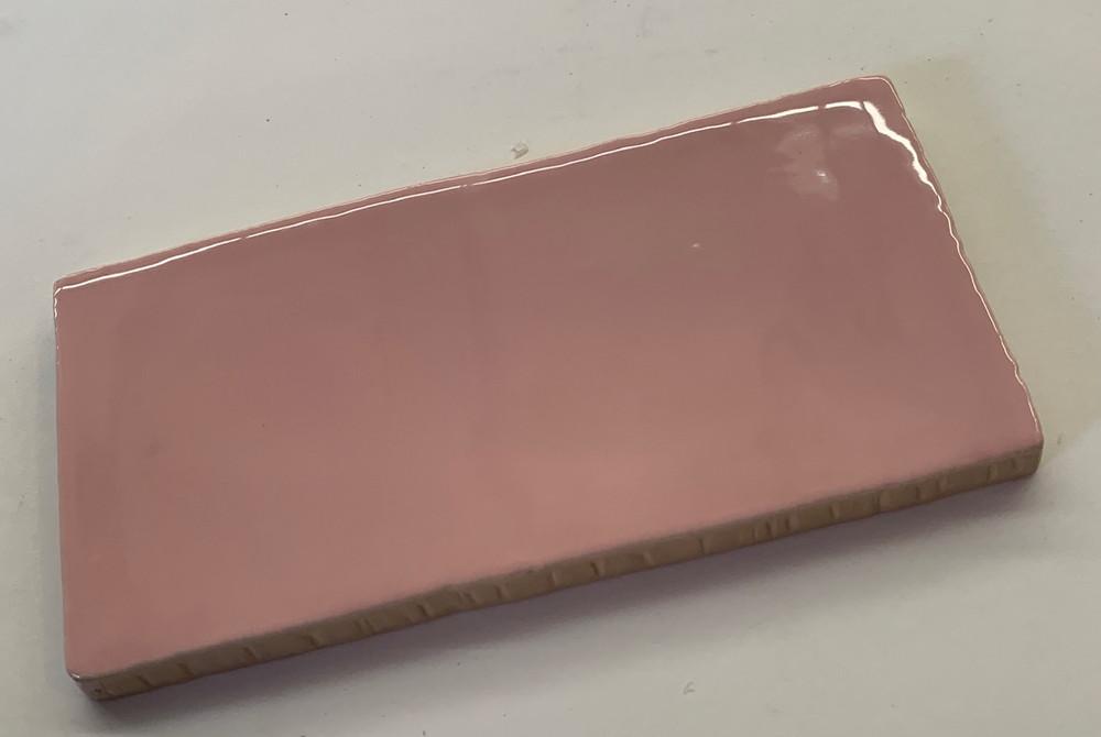 Handmade Style Rosa Pink Gloss Subway tile 150x75mm