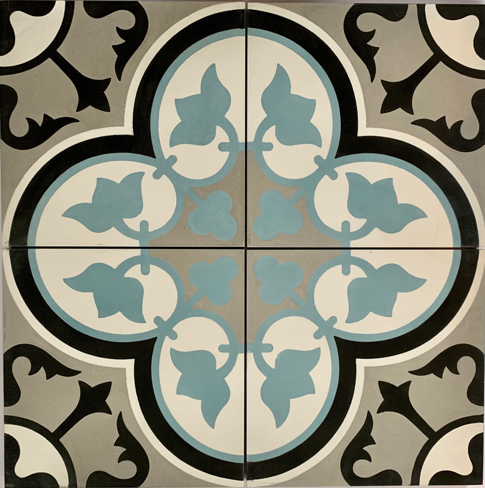 Ottoman Encaustic Cement Tile - 4 tiles