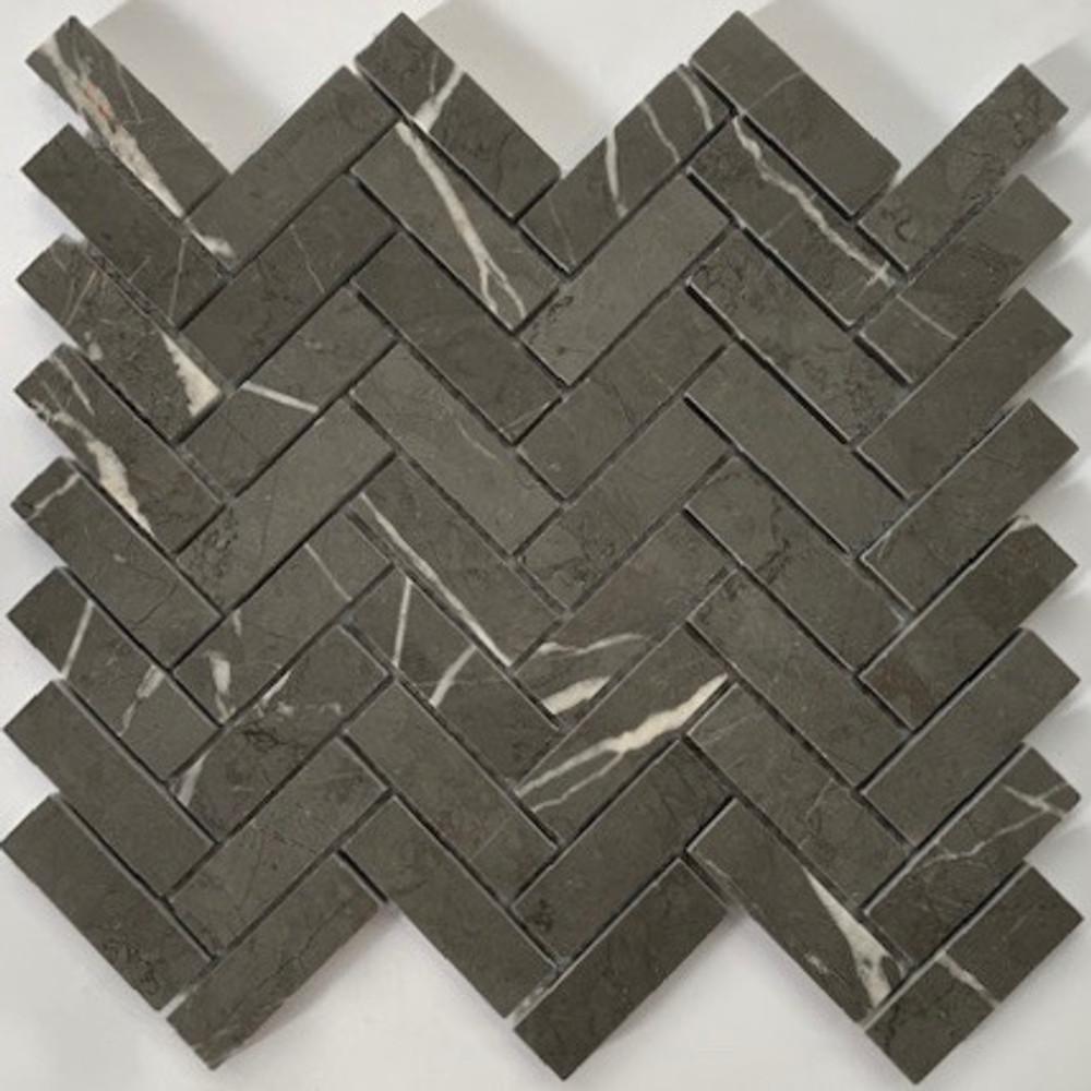 Pietre Grey Herringbone Mosaic 64x20mm